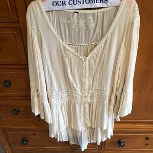 Free People Embroidered Shirt - L